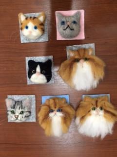 第2回羊毛フェルトの猫顔作り