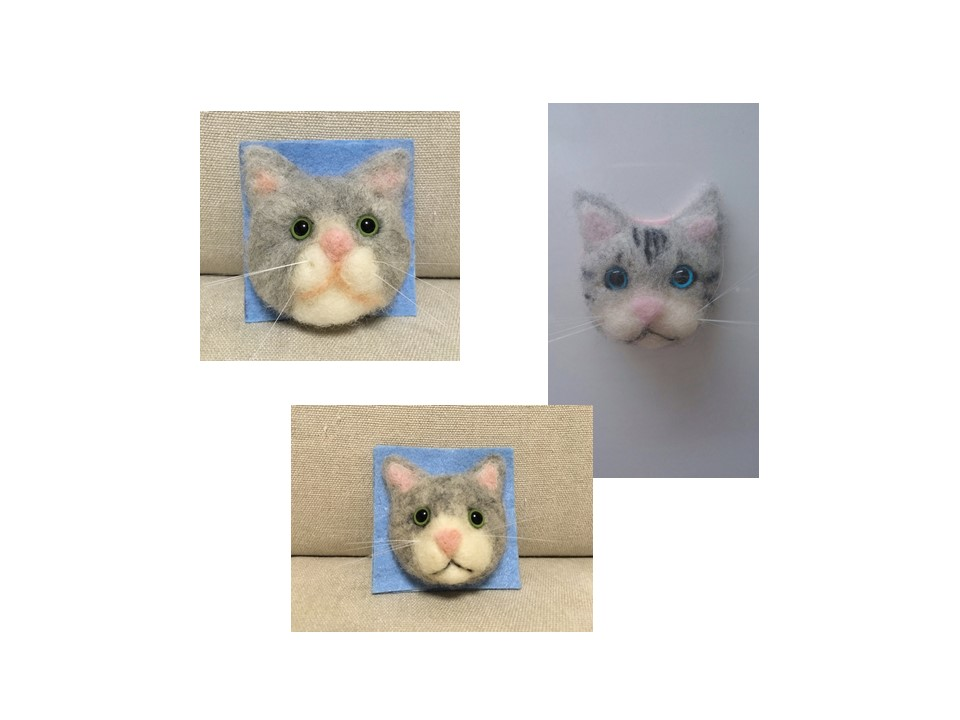 第3回羊毛フェルトの猫顔作り